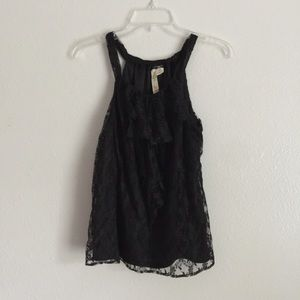 Adiva Tops - Adiva Black Sleeveless Lace Ruffle Blouse Medium